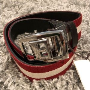 NWT! MEN'S Bally Belt Red/White/Brown Size 32